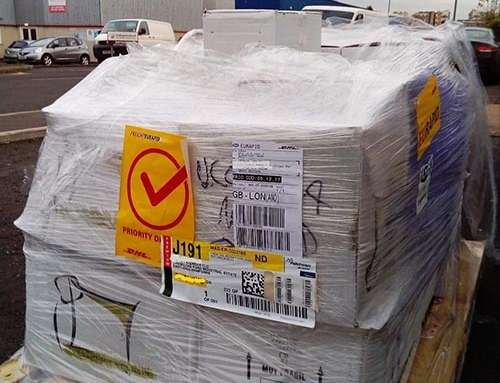First shipment of ceramics arrives, Hampshire.